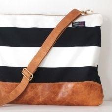 Stripes & leather laptop bag.