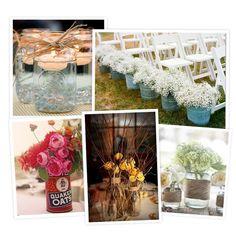 denim and burlap wedding decor | denim and diamonds