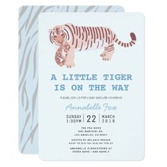 Shop Mom Tiger Carry Cub Blue Baby Shower Invitation created by applemeadowzoo. Personalize it with photos & text or purchase as is! Custom Baby Shower Invitations, Baby Shower Invitation Cards, Save The Tiger, Rainbow Balloons, Twinkle Twinkle Little Star, Baby Boy Shower, Baby Blue, Mom, Giraffe