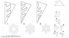 como hacer copos de nieve de papel plantilla paper snowflakes