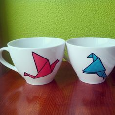 "tazas pintadas a mano ""pajaritos"""