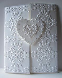 Paper Seedlings: white embossed wedding card. Stampin' Up! supplies