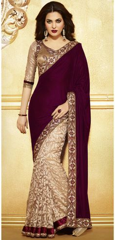 Biege Maroonish Wine Color Party Saree - Gorgeous!!