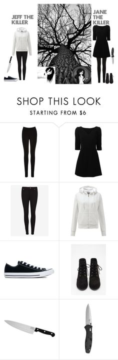 """""""Jeff and Jane the killers (HALLOWEEN)"""" by aliyahmeomi ❤ liked on Polyvore featuring Oasis, Dolce&Gabbana, Ted Baker, Converse, Forever 21 and Chicago Cutlery"""