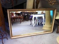 LARGE ELEGANT CARVED BEVILLED EDGE CREAM AND GOLD WALL MIRROR 99 X 58 CM