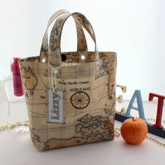 Old World Map Oilcloth Lunch Bag with Personalised by lynnegold, $21.48