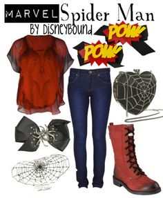 Spiderman outfit by DisneyBound Spiderman Outfit, Spiderman Spiderman, Disneybound Outfits, Disney Themed Outfits, Character Inspired Outfits, Fandom Fashion, Nerd Fashion, High Fashion, Casual Cosplay