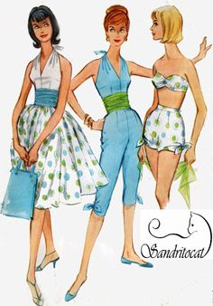 1960s Swimsuit Strapless 2 Piece w/ Hip Shirring, Bonning, Ties, Halter Top and Capris McCalls 5458 Vintage Sewing Pattern Size 10 Bust 31