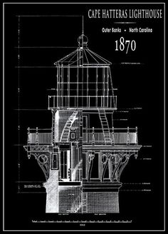 Architectural blueprint art print alcatraz lighthouse 8 x 10 cape hatteras lighthouse engineering drawing 1869 art print by daniel hagerman malvernweather Image collections