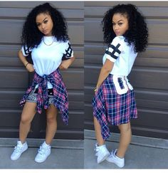 India Westbrooks WCW Curly Hair Girls Rock Pretty Girl Swag TShirt Plaid Shirt Tied Around Waist Nike Air Force 1 Streetwear Urban Fashion Style African American Women Outfit OOTD Trend Dope Fashion, Fashion Killa, Urban Fashion, Teen Fashion, Fashion Outfits, Swag Outfits, Dope Outfits, Hipster Outfits, Tumblr Shorts