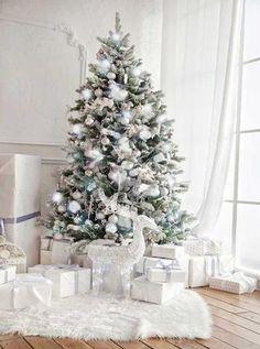 White Christmas Tree Fireplace