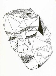 One line art ideas Trendy ideas Pencil Art Drawings, Art Drawings Sketches, Easy Drawings, Polygon Art, Geometric Drawing, Geometry Art, Art Et Illustration, Pen Art, Art Sketchbook