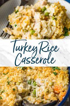 Turkey Noodle Casserole, Leftover Turkey Casserole, Rice Casserole, Casserole Recipes, Turkey Enchilada Casserole, Easy Leftover Turkey Recipes, Leftovers Recipes, Dinner Recipes, Turkey Leftovers