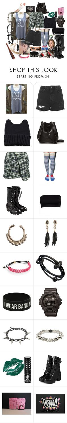 """Crazy one: Card"" by theartfart ❤ liked on Polyvore featuring Topshop, Rachael Ruddick, Faith Connexion, Peony & Moss, Comme des Garçons, VidaKush, Alexis Bittar, Marc by Marc Jacobs, Hot Topic and G-Shock"