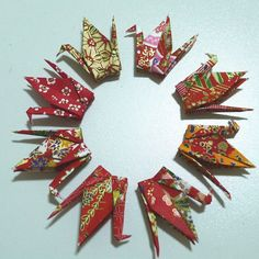8 Red toned Washi Japanese Origami Paper Cranes by origamipalace, $3.60