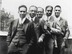 Langston Hughes, Charles S. Johnson, E. Franklin Frazier, Rudolph Fisher and Hubert Delany (brother of the Delany Sisters) overlooking St. Nicholas Avenue in Harlem in the 1920s.