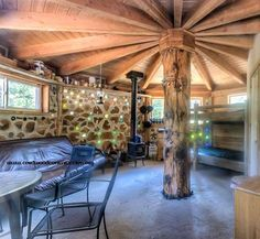 And here for your viewing pleasure is the inside of one of the cordwood cabins near Idaho City...a 22 acre mountain parcel near Idaho City, Idaho that has two cordwood cabins, a yurt-sized, timber-framed cabin with built-ins, 2 tepees, a spacious and luxurious wall tent with wood stove and great southern mountain views.