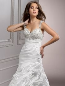 Straps with beaded bodice and ruched fit and flare