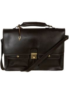 ea0789a7c5 Brown Leather Briefcase -TOPMAN - StyleSays Sweater Sale