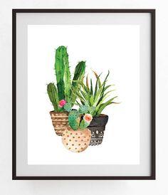 printable art Watercolor Cactus and Succulent 2-set