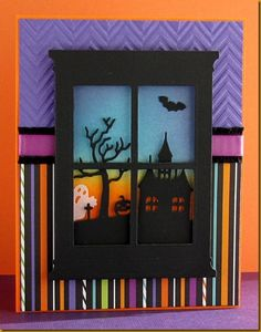 halloween window scene card - bjl