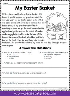 Reading comprehension daily passages. If you are looking for fun activities to help your students with reading comprehension strategies, check out this packet of daily passages for the month of April, Easter, and spring! Each worksheet has a short story with an illustration and 5 comprehension questions. Great for advanced 1st grade, 2nd grade, and 3rd grade extra practice. Kids enjoy reading these fun stories while improving their skills.