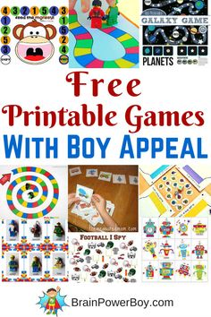 Free printable games for kids provide a great way to have fun and learn. Check out these printable games with boy appeal. Robots, LEGO, animals, bugs, space and more. Games For Boys, Craft Activities For Kids, Learning Activities, Kids Learning, Articulation Activities, Shape Activities, Therapy Activities, Printable Games For Kids, Printable Board Games
