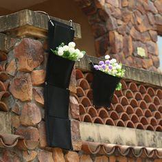 wholesales 30pcs 4 Pockets Vertical Garden Planter Wall-mounted Home Gardening Flower Planting Bags Wall Planter flower 30*100cm