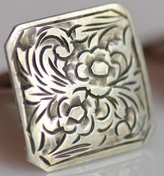 The backs are slightly different, not sure why, the fronts are exact match.A wonderful addition to your collection. Vintage Rings, Vintage Silver, Cufflinks, Rings For Men, Carving, Stamp, Antiques, Jewelry, Antiquities