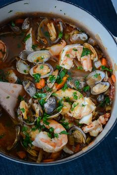 30 minute seafood stew This stew is the perfect dish for entertaining. Make the broth the day before and add the seafood five minutes before you want to serve it. Toast up some bread and you'll have a dinner that will impress! Fish Recipes, Seafood Recipes, Soup Recipes, Cooking Recipes, Healthy Recipes, Healthy Dishes, Seafood Stew, Fresh Seafood, Seafood Dishes