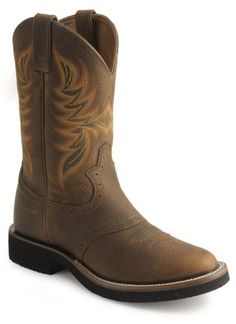 Justin Mens Cowboy Boots Stampede Collection Dark Brown