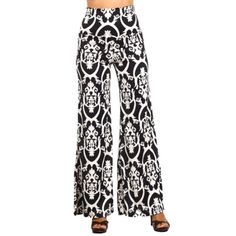 b91c19f60a9 Black and White Damask Print Palazzo Pants with Fold-Over Waist