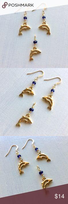Gold Dolphin Charm Indigo Glass Beaded Jewelry Set New Gold Dolphin Charm and Indigo Blue Glass Bead Earrings and Pendant Set. 14K Gold filled ear hooks. Great beach nautical style. Handmade by me 💝 AlohaMermaidJewelry Jewelry