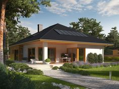 DOM.PL™ - Projekt domu AC Liv 3 CE - DOM AF2-79 - gotowy koszt budowy Small Bungalow, Bungalow House Design, Bungalow House Plans, Bedroom House Plans, Dream House Plans, House Floor Plans, House Layout Plans, House Layouts, Beautiful House Plans