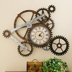 21 Cool Tips To Steampunk Your Home ~ Gears are important items of the steampunk culture, so don't forget about them. Let your imagination run wild! A gear wall clock will certainly make a statement, but you can also use them to create and display industrial art pieces.