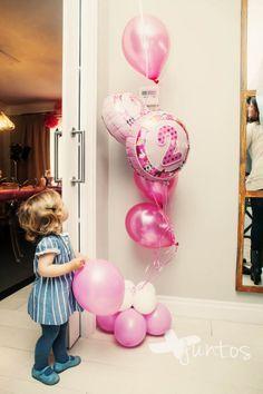 Cumple, fiesta infantil, fiesta niños, Globos rosas, Cumpleaños, niña www.masjuntos.com