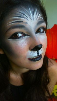 pics of wolf makeup | Now after I was finished with the makeup, I had an idea to get a ... #facepaintingideas