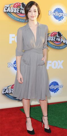Look of the Day - November 27, 2014 - Emmy Rossum in Jenny Packham from #InStyle