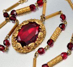 Vintage Art Deco Garnet Glass Czech Necklace Flower by boylerpf, $120.00