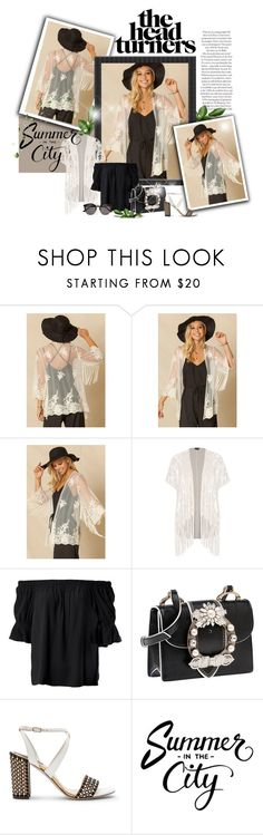 """lace kimono"" by rvazquez ❤ liked on Polyvore featuring Sans Souci, City Chic, Miu Miu, Illesteva and plus size clothing"
