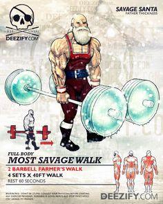 leg exercise: farmers walk santa