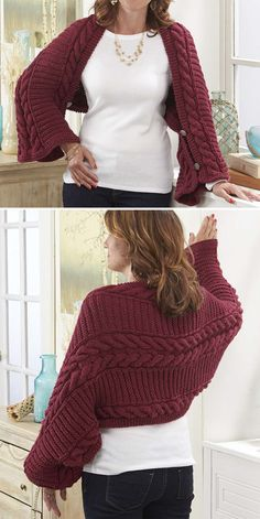 Free Knitting Pattern for Easy Fireside Cabled Shawl Shrug - Knit in a rectangle. Free Knitting Pattern for Easy Fireside Cabled Shawl Shrug - Knitted in a rectangle with repeats, with buttons at the edges to form sleeves. Shrug Knitting Pattern, Knit Shrug, Easy Knitting, Knitted Shawls, Loom Knitting, Knitting Stitches, Knitting Patterns Free, Knitting Tutorials, Knitting Machine