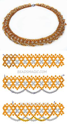 Free pattern for necklace Gold 11/0