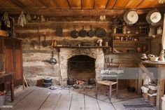 Stock Photo : Rustic Cabin Interior … a set of nicely painted mugs can be hung… - bulletproof. Old Cabins, Log Cabin Homes, Rustic Cabins, Barn Homes, Rustic Bathroom Decor, Rustic Kitchen, Vintage Kitchen, Cabin Interiors, Rustic Interiors