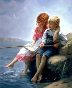 Brother & Sister: Companions (by Mark Arian) [reading while fishing]