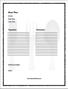 Free editable & printable recipe journal book with recipe templates. Meal Planner Printable, Printable Recipe, Printables, Recipe Templates, Cookbook Template, Recipe Journal, Food Journal, Home Recipes, Cooking Recipes