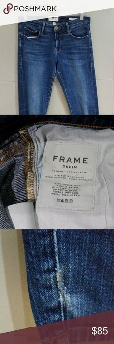 Frame Denim Size 26 Le Garcon Jeans Slim Cuffed $249 Frame Denim Women's Size 26 Le Garcon Jeans Slim Cuffed  All measurements are done with the garment laying flat on a table and measured straight across.  Inseam: 27.5 inches uncuffed Hip to Hip: 16 inches across Rise: 8 inches Thigh: 9.5 inches across Waist: 14.5 inches across  Size: 26  Great condition! Slight wear and tear by the cuffs, please see photos.  Feel free to ask questions! I want to make sure you're getting what you want…