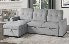 """9402GRY*SC Winston porter cadence II gray fabric reversible sectional sofa with storage chaise. Features a reversible chaise with storage , pull out sleep area and adjustable headrests all with pocket coil seating. Measures 91.5"""" x 61"""" x 38"""" H. Some assembly required."""