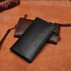 2015 New Mens Long Zip Aound Wallet Purse Phone Pouch Wristlet Business Handbag