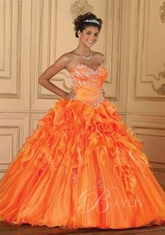 Prom Dress Orange Ball Gown Strapless Floor Train Organza Applique Beadings P142